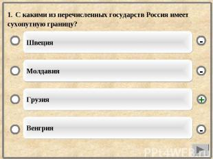 1. С какими из перечисленных государств Россия имеет сухопутную границу?