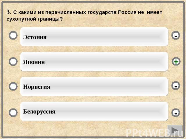 3. С какими из перечисленных государств Россия не имеет сухопутной границы?