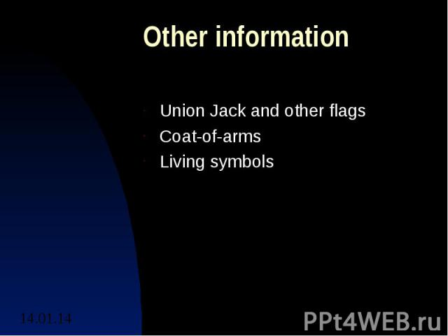 Other informationUnion Jack and other flagsCoat-of-armsLiving symbols