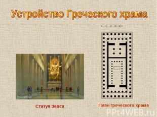 Устройство Греческого храмаСтатуя Зевса План греческого храма