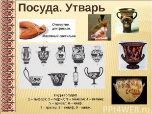 Посуда. УтварьВиды сосудов:1 – амфора; 2 – гидрия; 3 – ойнохоя; 4 – пелика; 5 –