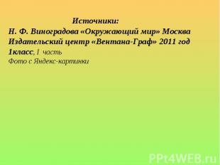 Источники:Н. Ф. Виноградова «Окружающий мир» Москва Издательский центр «Вентана-