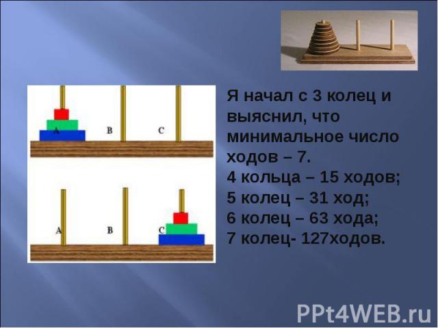 Я начал с 3 колец и выяснил, что минимальное число ходов – 7.4 кольца – 15 ходов;5 колец – 31 ход;6 колец – 63 хода;7 колец- 127ходов.