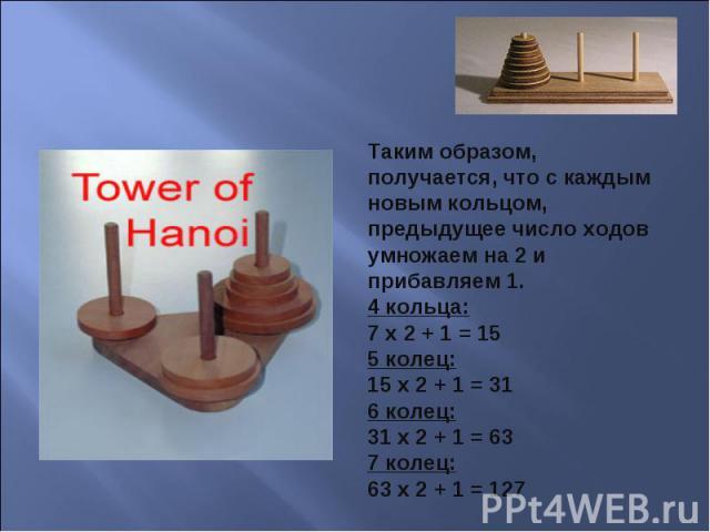 Таким образом, получается, что с каждым новым кольцом, предыдущее число ходов умножаем на 2 и прибавляем 1.4 кольца:7 х 2 + 1 = 155 колец:15 х 2 + 1 = 316 колец:31 х 2 + 1 = 637 колец:63 х 2 + 1 = 127