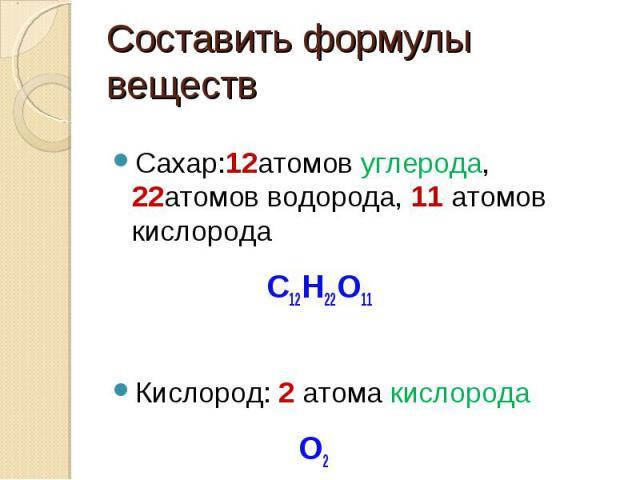 Составить формулы веществ Сахар:12атомов углерода, 22атомов водорода, 11 атомов кислорода C12H22O11Кислород: 2 атома кислорода О2