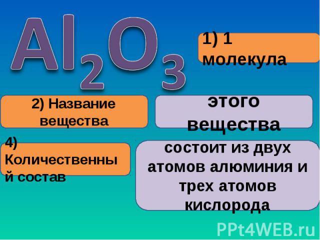 состоит из двух атомов алюминия и трех атомов кислорода