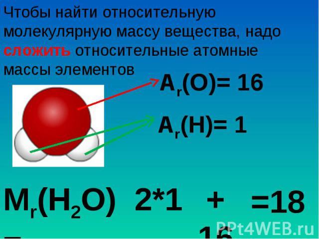 Чтобы найти относительную молекулярную массу вещества, надо сложить относительные атомные массы элементов