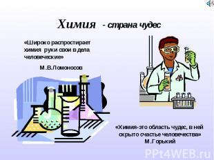 Химия - страна чудес «Широко распростирает химия руки свои в дела человеческие»