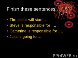 Finish these sentences:The picnic will start …..Steve is responsible for ….Cathe