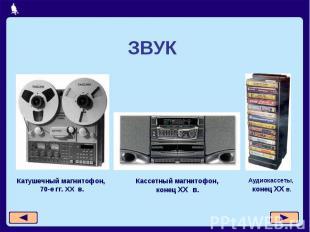 ЗВУККатушечный магнитофон, 70-е гг. XX в.Кассетный магнитофон, конец XX в.Аудиок
