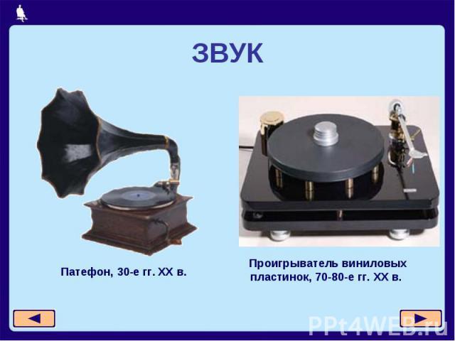 ЗВУКПатефон, 30-е гг. XX в. Проигрыватель виниловых пластинок, 70-80-е гг. XX в.