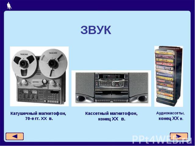 ЗВУККатушечный магнитофон, 70-е гг. XX в.Кассетный магнитофон, конец XX в.Аудиокассеты, конец XX в.
