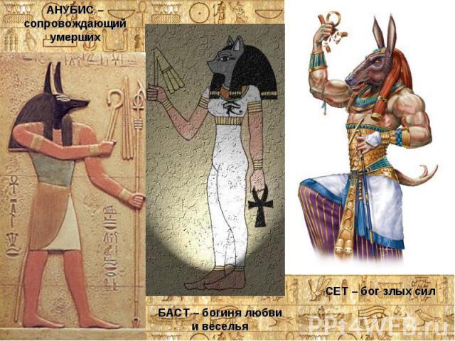 АНУБИС – сопровождающий умершихБАСТ – богиня любви и веселья