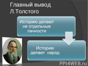 Главный вывод Л.ТолстогоИсторию делают не отдельные личности Историю делает наро