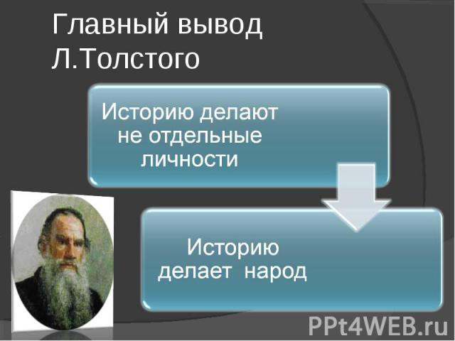 Главный вывод Л.ТолстогоИсторию делают не отдельные личности Историю делает народ