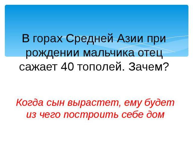 В горах Средней Азии при рождении мальчика отец сажает 40 тополей. Зачем?Когда сын вырастет, ему будет из чего построить себе дом