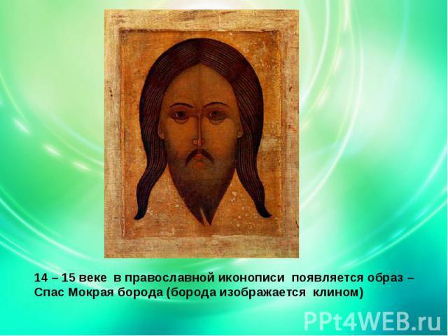 14 – 15 веке в православной иконописи появляется образ – Спас Мокрая борода (борода изображается клином)