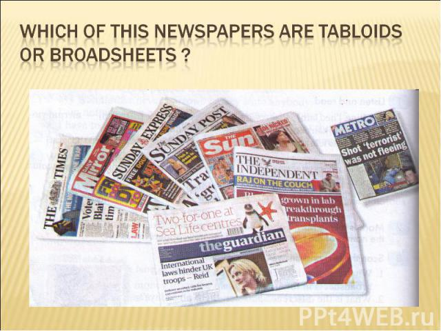 Which of this newspapers are tabloids or broadsheets ?