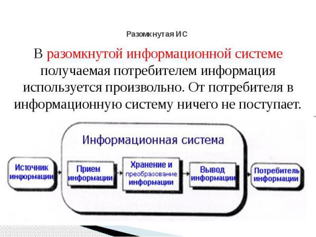 Разомкнутая ИС В разомкнутой информационной системе получаемая потребителем информация используется произвольно. От потребителя в информационную систему ничего не поступает.