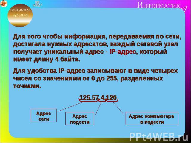 Для того чтобы информация, передаваемая по сети, достигала нужных адресатов, каждый сетевой узел получает уникальный адрес - IP-адрес, который имеет длину 4 байта.Для удобства IP-адрес записывают в виде четырех чисел со значениями от 0 до 255, разде…
