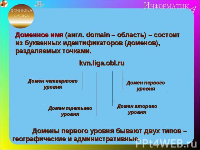 Доменное имя (англ. domain – область) – состоит из буквенных идентификаторов (доменов), разделяемых точками.kvn.liga.obl.ruДомены первого уровня бывают двух типов – географические и административные.