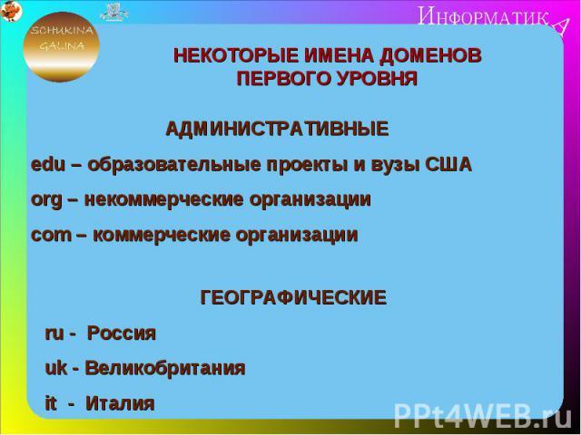 НЕКОТОРЫЕ ИМЕНА ДОМЕНОВ ПЕРВОГО УРОВНЯАДМИНИСТРАТИВНЫЕedu – образовательные проекты и вузы СШАorg – некоммерческие организациисom – коммерческие организацииГЕОГРАФИЧЕСКИЕru - Россияuk - Великобританияit - Италия