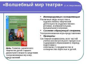 «Волшебный мир театра» (С.И. Мерзлякова) Интегрируемые составляющие Различные ви