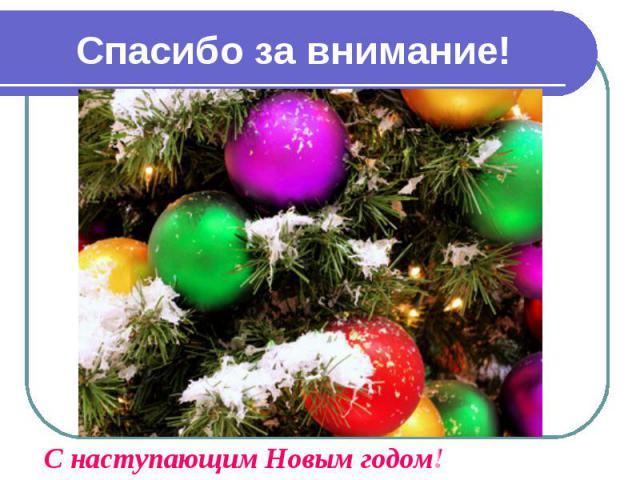 Спасибо за внимание!С наступающим Новым годом!