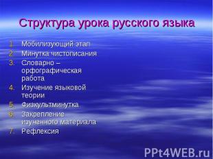 Структура урока русского языкаМобилизующий этапМинутка чистописанияСловарно – ор