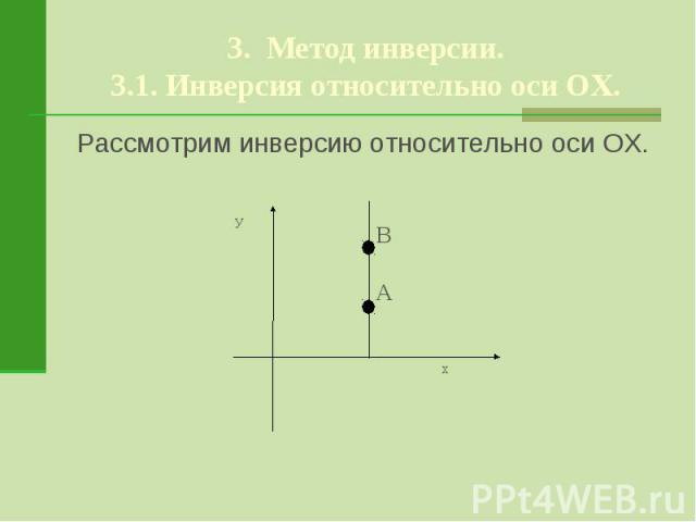 3. Метод инверсии.3.1. Инверсия относительно оси ОХ.Рассмотрим инверсию относительно оси ОХ.