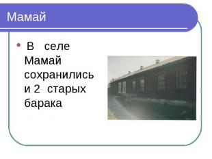 Мамай В селе Мамай сохранились и 2 старых барака