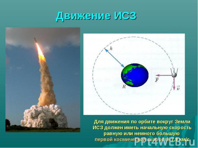 Движение ИСЗ Для движения по орбите вокруг Земли ИСЗ должен иметь начальную скорость равную или немного большую первой космической скорости 7,9 км/с