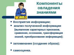 Компоненты овладения знаниями Восприятие информации; анализ полученной информаци