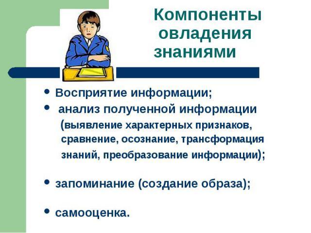 Компоненты овладения знаниями Восприятие информации; анализ полученной информации (выявление характерных признаков, сравнение, осознание, трансформация знаний, преобразование информации);запоминание (создание образа);самооценка.