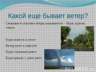 Какой еще бывает ветер?Сильные и опасные ветры называются – буря, ураган, смерч.