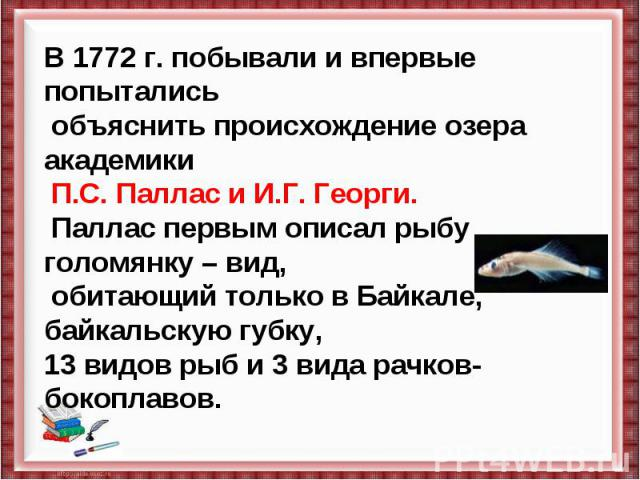 В 1772 г. побывали и впервые попытались объяснить происхождение озера академики П.С. Паллас и И.Г. Георги. Паллас первым описал рыбу голомянку – вид, обитающий только в Байкале, байкальскую губку, 13 видов рыб и 3 вида рачков-бокоплавов.