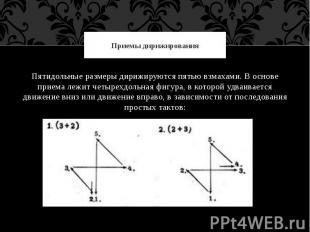 Приемы дирижированияПятидольные размеры дирижируются пятью взмахами. В основе пр