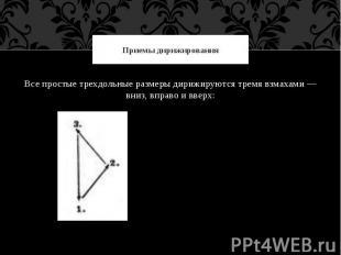 Приемы дирижированияВсе простые трехдольные размеры дирижируются тремя взмахами