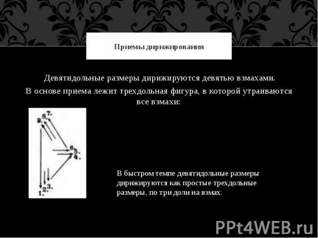 Приемы дирижирования Девятидольные размеры дирижируются девятью взмахами.В основе приема лежит трехдольная фигура, в которой утраиваются все взмахи:В быстром темпе девятидольные размеры дирижируются как простые трехдольные размеры, по три доли на взмах.