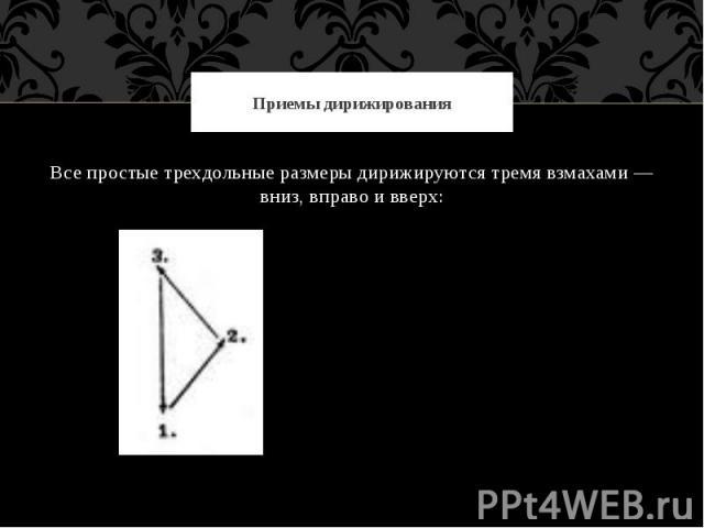 Приемы дирижированияВсе простые трехдольные размеры дирижируются тремя взмахами — вниз, вправо и вверх: