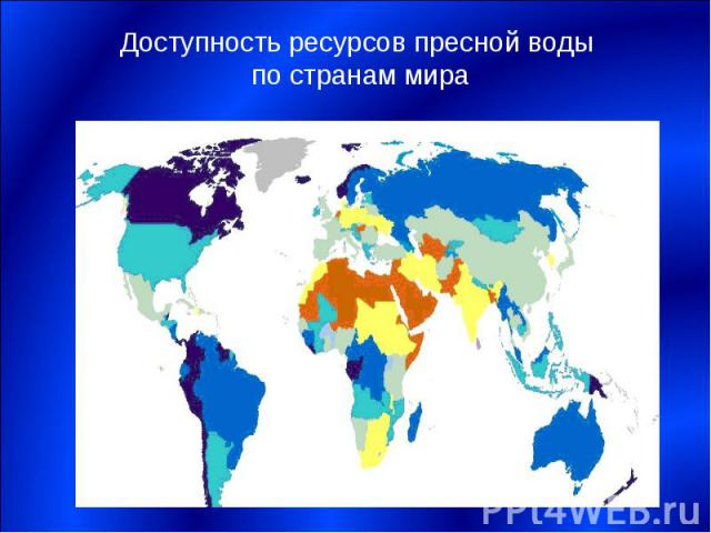 Доступность ресурсов пресной воды по странам мира