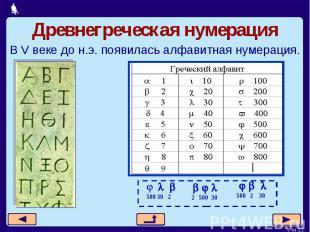 Древнегреческая нумерацияВ V веке до н.э. появилась алфавитная нумерация.