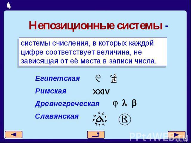 Непозиционные системы -системы счисления, в которых каждой цифре соответствует величина, не зависящая от её места в записи числа.Египетская РимскаяДревнегреческаяСлавянская