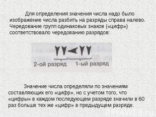 Для определения значения числа надо было изображение числа разбить на разряды сп