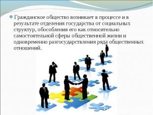 Гражданское общество возникает в процессе и в результате отделения государства о
