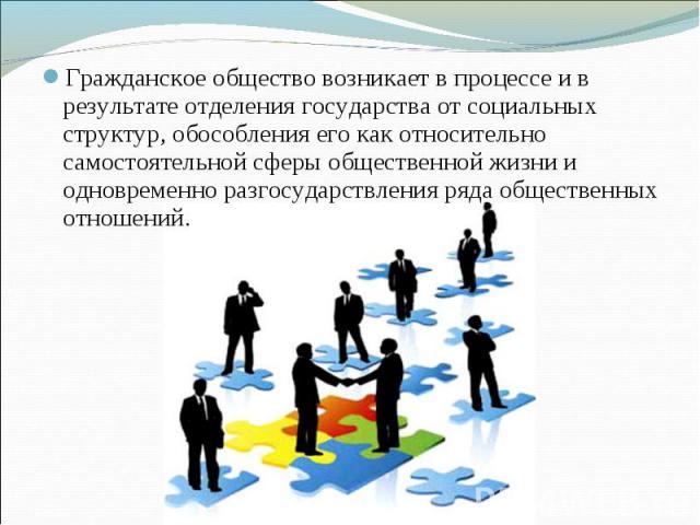 Гражданское общество возникает в процессе и в результате отделения государства от социальных структур, обособления его как относительно самостоятельной сферы общественной жизни и одновременно разгосударствления ряда общественных отношений.