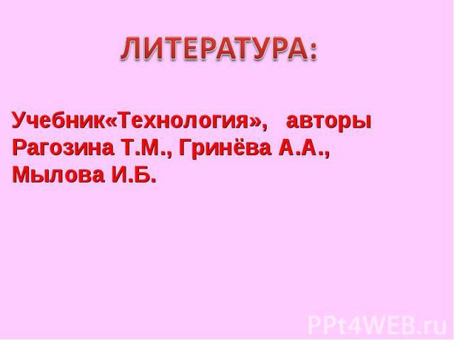 ЛИТЕРАТУРА:Учебник«Технология», авторыРагозина Т.М., Гринёва А.А., Мылова И.Б.
