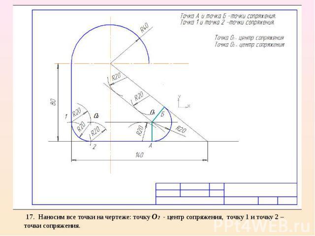 17. Наносим все точки на чертеже: точку О2 - центр сопряжения, точку 1 и точку 2 – точки сопряжения.