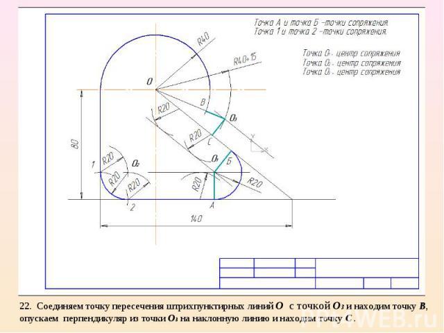 22. Соединяем точку пересечения штрихпунктирных линий О с точкой О3 и находим точку В, опускаем перпендикуляр из точки О3 на наклонную линию и находим точку С .
