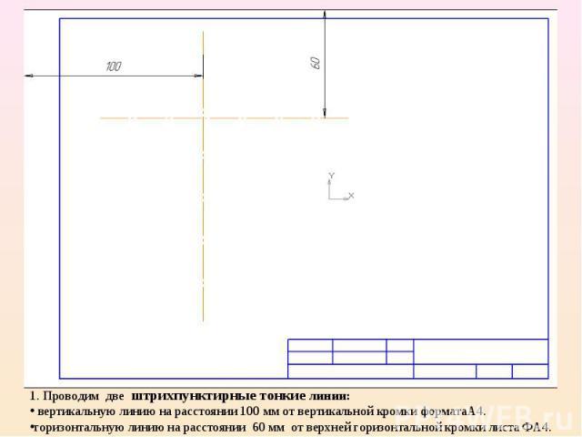 1. Проводим две штрихпунктирные тонкие линии: вертикальную линию на расстоянии 100 мм от вертикальной кромки форматаА4.горизонтальную линию на расстоянии 60 мм от верхней горизонтальной кромки листа ФА4.